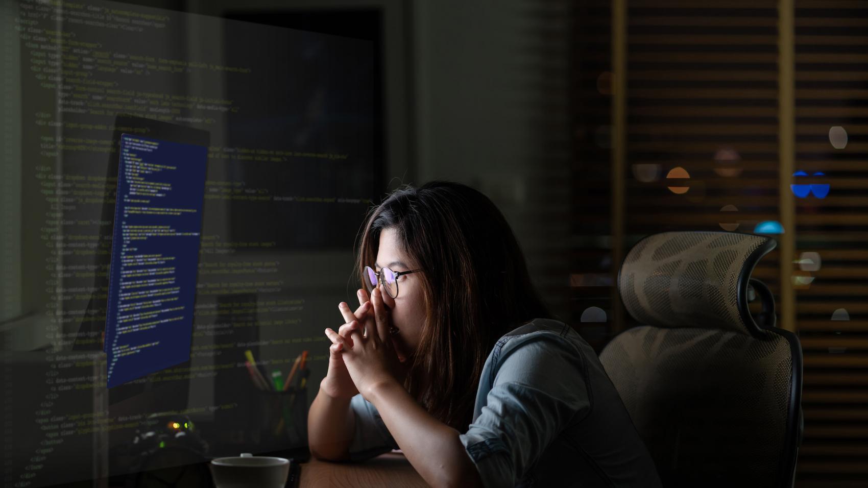 woman thinking of hard coding