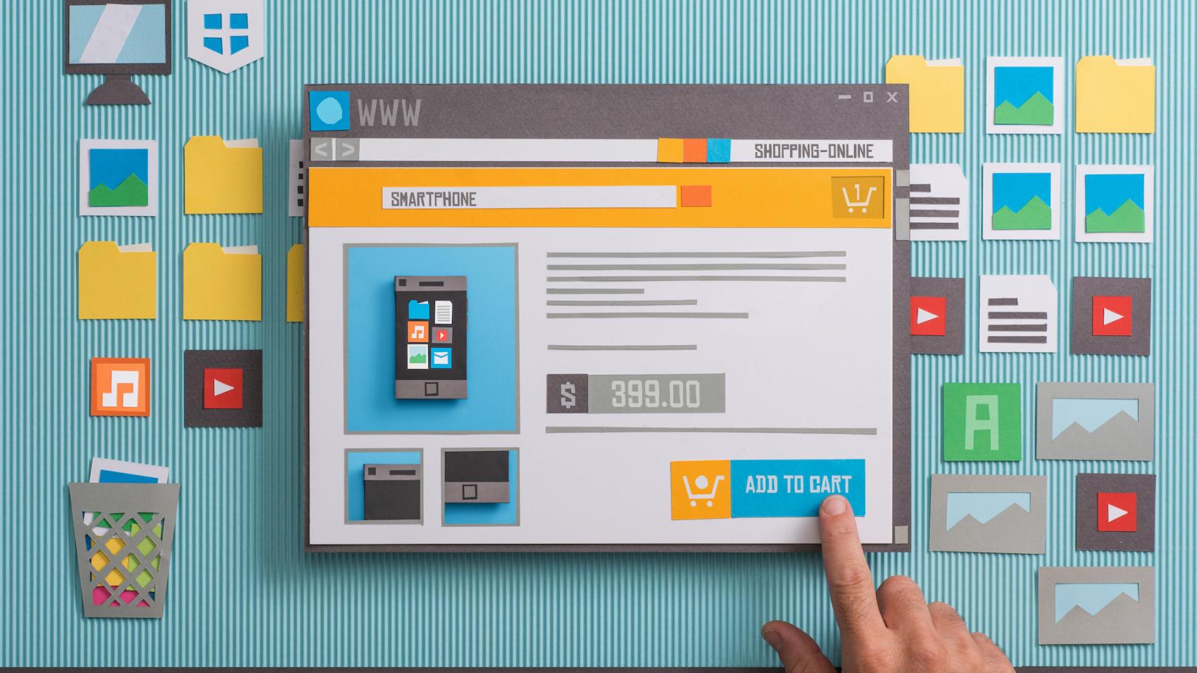 website hand clicking on tablet shop